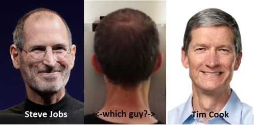 """Steve Jobs and Tim Cook photos are from the Apple website. The guy in the middle is a screenshot from the Microsoft """"A Fly on the Wall in Cupertino"""" video."""